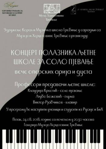 Večeras u Muzeju Hercegovine 'Veče operskih arija i dueta'