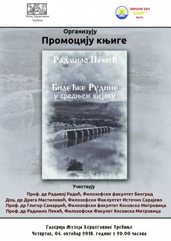U Muzeju Hercegovine Trebinje sutra promocija knjige 'Bilećke Rudine u srednjem vijeku'