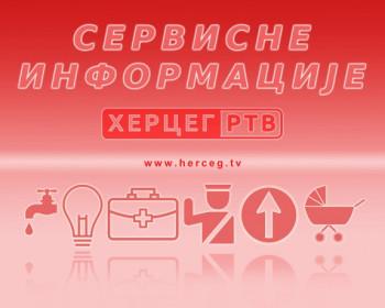 Servisne informacije za 16. novembar 2018. godine