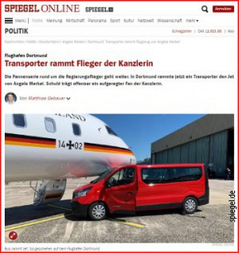 Судар аутомобила и авиона Ангеле Меркел