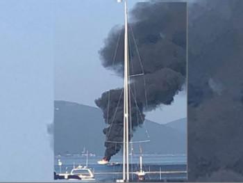 Tivat: Požar na jahti ispred Porto Montenegra