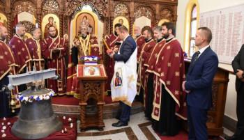 Osveštano zvono crkve u kompleksu MUP-a u Zalužanima (VIDEO)