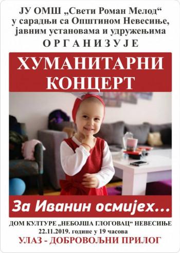 Nevesinje: Humanitarni koncert za malu Ivanu