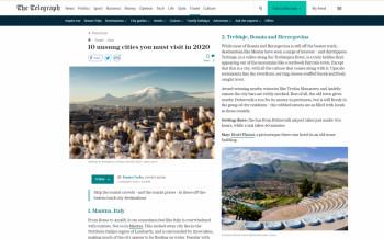 Британски Телеграф -Требиње на листи градова које морате посјетити у овој години