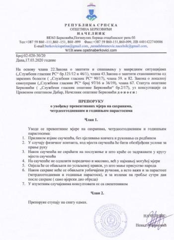 Berkovići: PREPORUKA o uvođenju preventivnih mjera na sahranama, četrdesetodnevnim i godišnjim parastosima