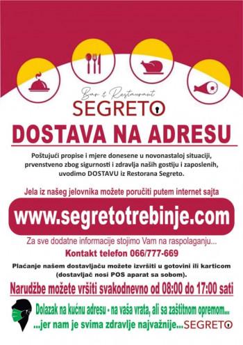 Restoran Segreto, dostava hrane na Vašu adresu