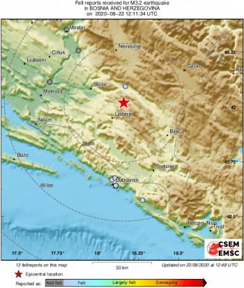 Zemljotres od 3,2 stepena kod Ljubinja