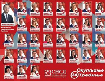 Lista kandidata za odbornike Saveza nezavisnih socijaldemokrata Trebinje