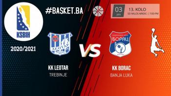 KK Leotar VS KK Borac - 13.kolo - 17 časova- Uživo na Herceg RTV