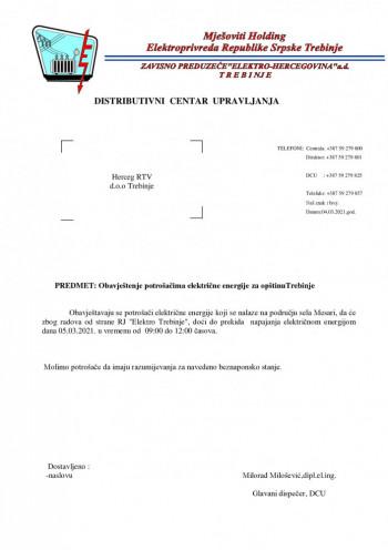 Obavještenje potrošačima električne energije za opštinuTrebinje za dan 05.03.2021.
